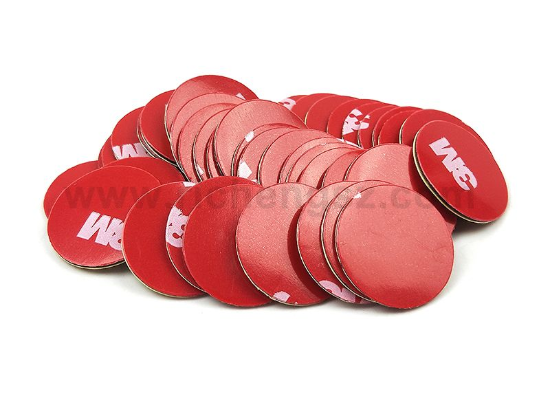 20mm Circle Die Cut Pressure Sensitive Acrylic Foam Tape 3M 4229P, Gray Color, Red Printed Liner With 3M Logo.