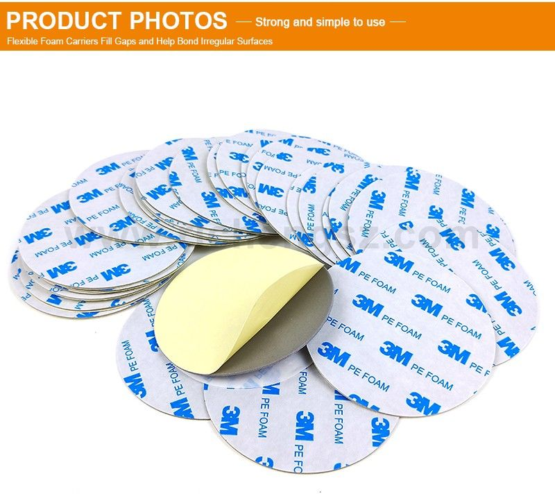 Die Cut Round 3M 1600TG Double Sided Polyethylene PE Foam Tape Custom Sheet