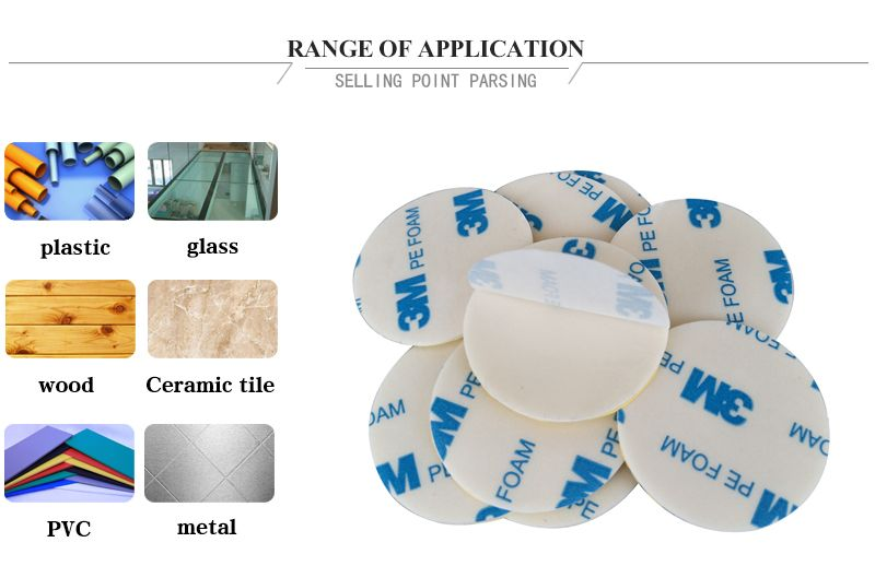 Die Cut white color 3M 1600T PE foam Double sided tape