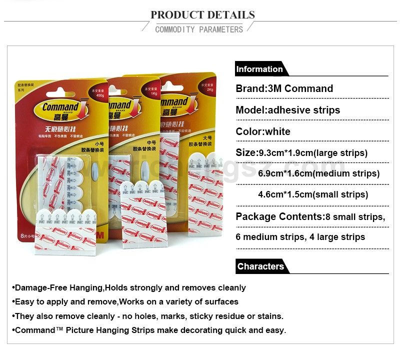 Large/Medium/Small size command refill strips 3m damege-free magic double-sided tape