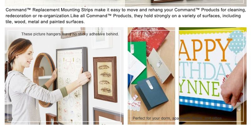 Large size 3M Command Replacement Strips Command Poster Strips 3M Double-sided tape command Refill Strips