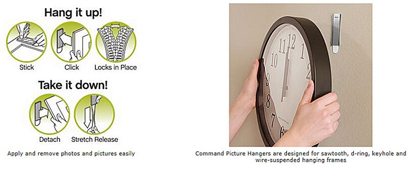 Large size Command Damage-free Large Picture hanging Strips 2 sets/pack Command Picture