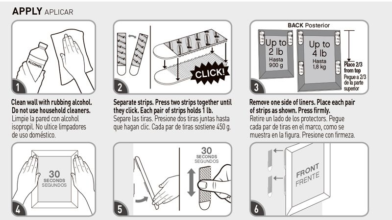 Small size 3M Command Picture Hanging Strips Command Damage-Free Magic Strip Command Inter Locking Faster