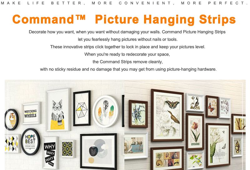 Medium size 3M Command Picture Hanging Strips Damage-Free Strips Command Inter Locking Faster for Decor