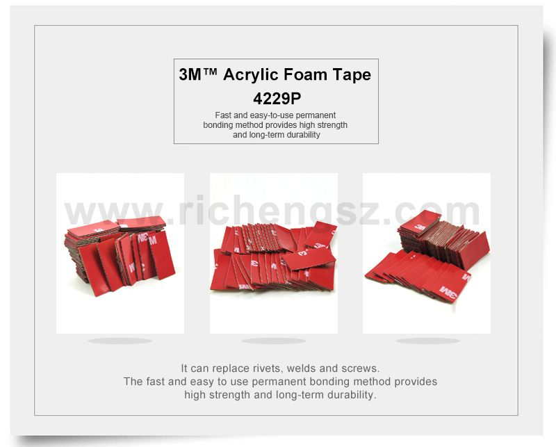 Size 15mm*30mm High Sticky Auto Foam Tape 3M 4229P Auto Two Face Acrylic Adhesive Foam Tape