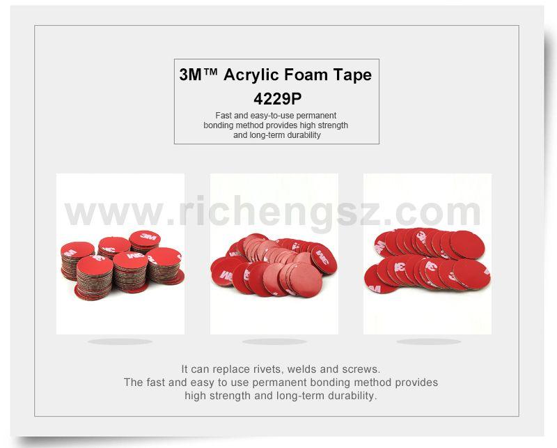 20mm circle die cut Pressure Sensitive Acrylic Foam Tape 3M 4229P, Gray Color, Red Printed Liner With 3M Logo,20Pcs/Lot