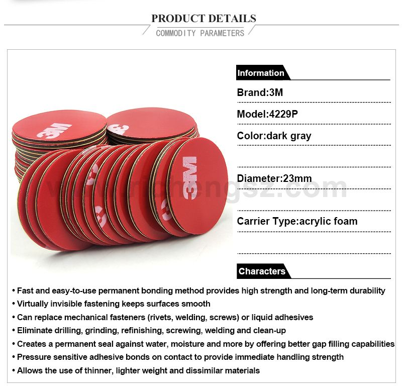 23mm circle die cut Gray 3M 4229P thickness 0.8mm Double Sided Acrylic Foam Tape,20Pcs/Lot