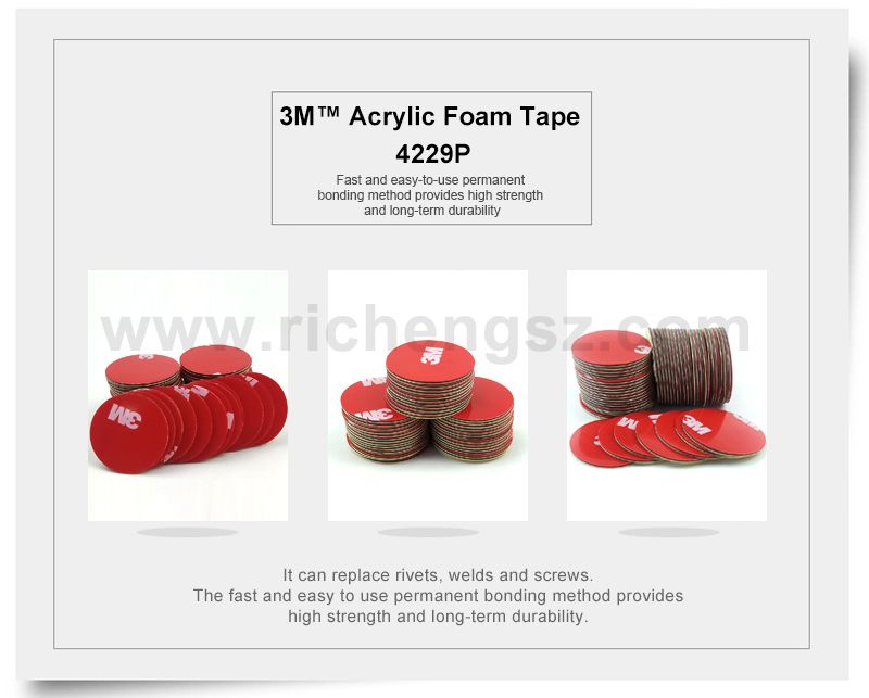25mm circle die cut 3M 4229P Acrylic Foam Tape,Double Sided Adhesive for Car,thickness 0.8mm,20Pcs/Lot