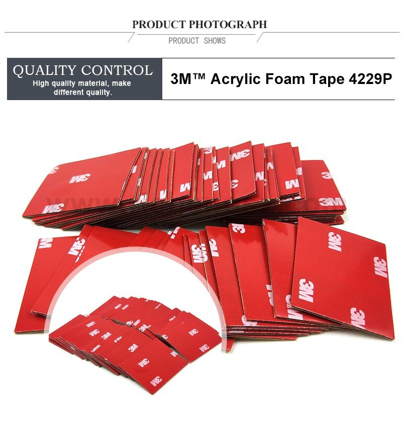 Size 38mm*50mm 3M 4229P Thickness 0.8mm Auto Two Face Acrylic Adhesive Foam Tape/high Sticky Auto Foam Tape.