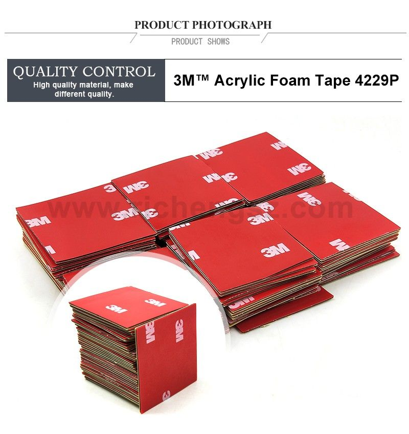Size 40mm*40mm gray 3M original 4229P thickness 0.8mm Auto double sided adhesive acrylic foam tape.