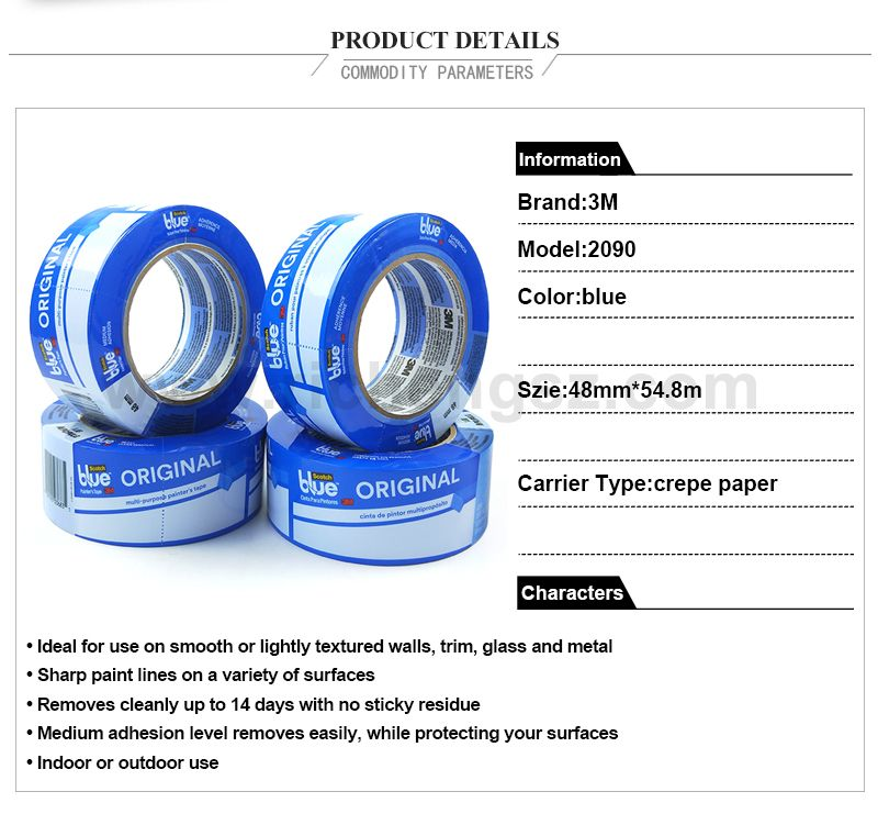 3M original 2090 Multi-Surfaces high temperature masking tape blue 48mm*54.8m