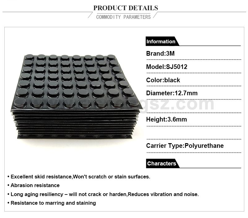 3M rubber feet Bumpon SJ5012 Protective Products black color,W12.7mm*H3.6mm