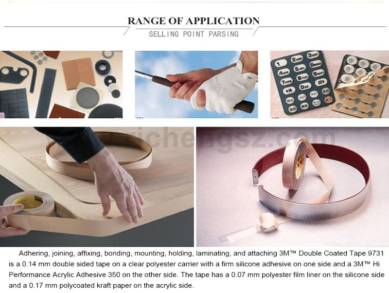 size 10mm*33m  3M 9731 One Side Silicone Double Sided Adhesive Tape Apply To Gasketing/Filters/ Silicone Foams And Rubber
