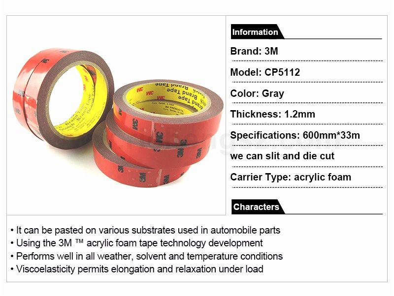 3M 100% CP5112 double sided strong adhesive tape