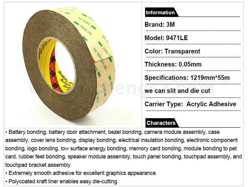 Very thin 3M 9471LE heat resistant double sided foam tape